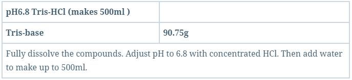 pH6.8 Tris-Hcl (makes 500ml )